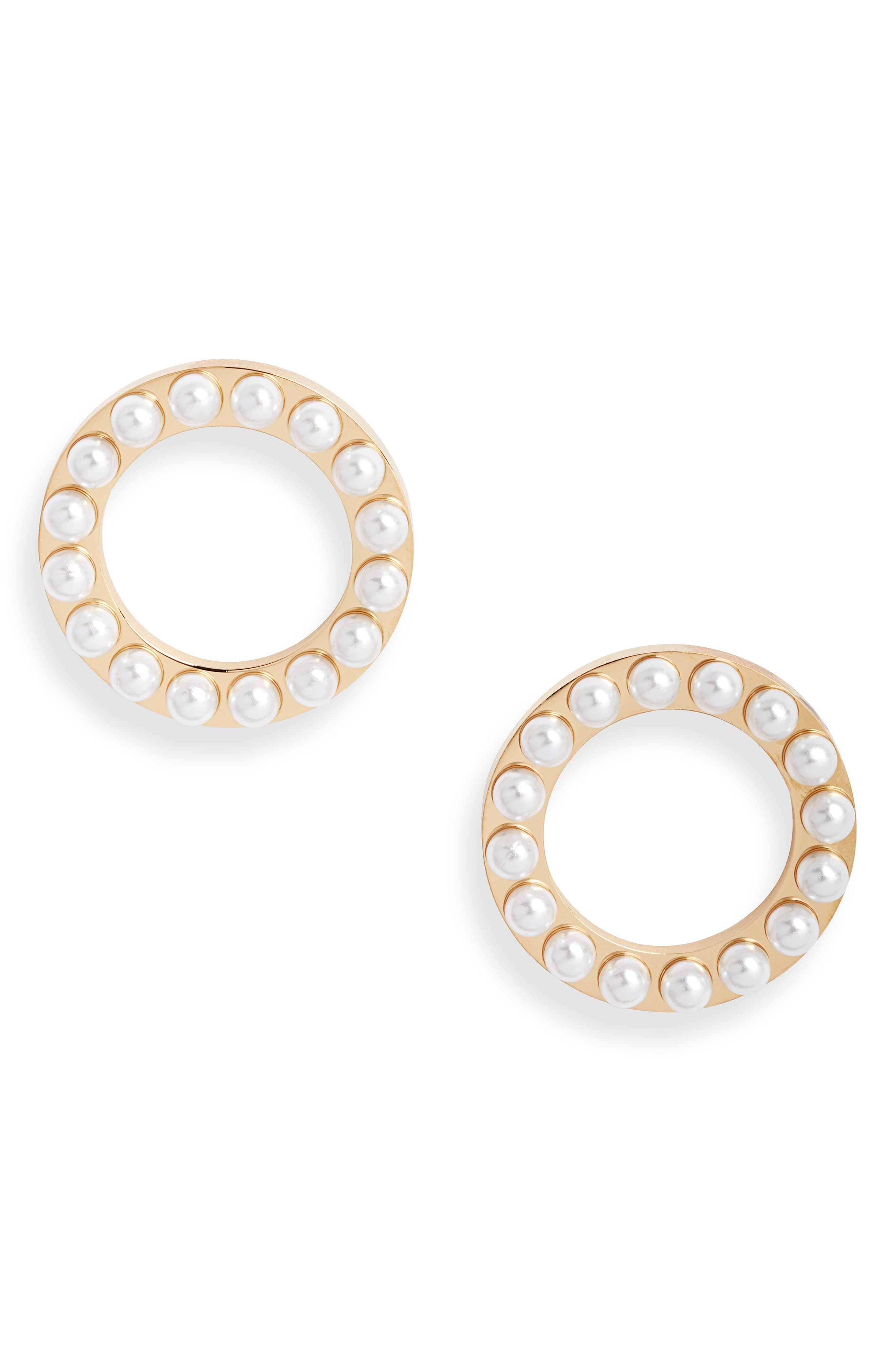 Imitation Pearl Structured Circle Earrings