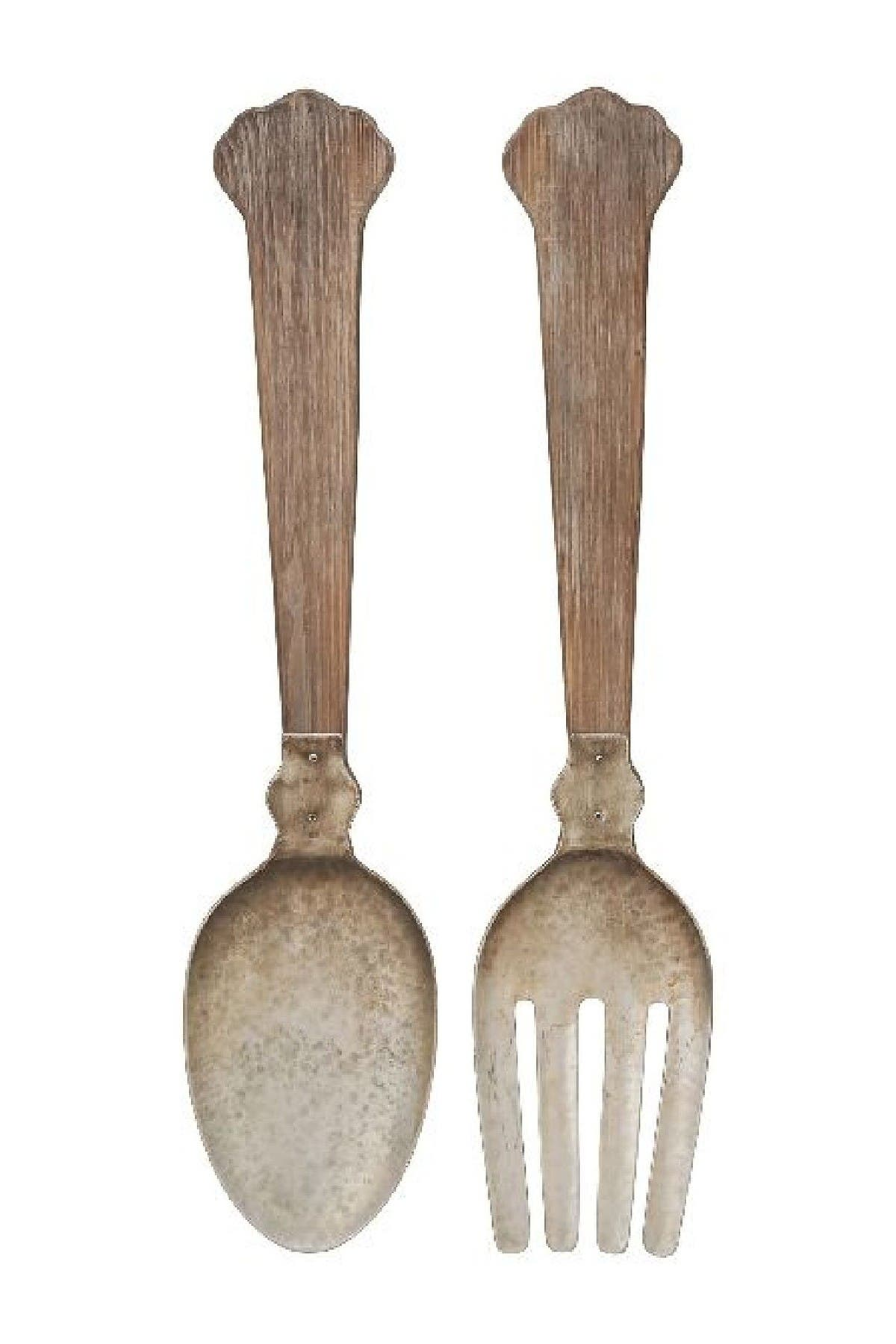 "Image of Willow Row 38"" Eclectic Wood & Metal Utensil Decor - Set of Two"
