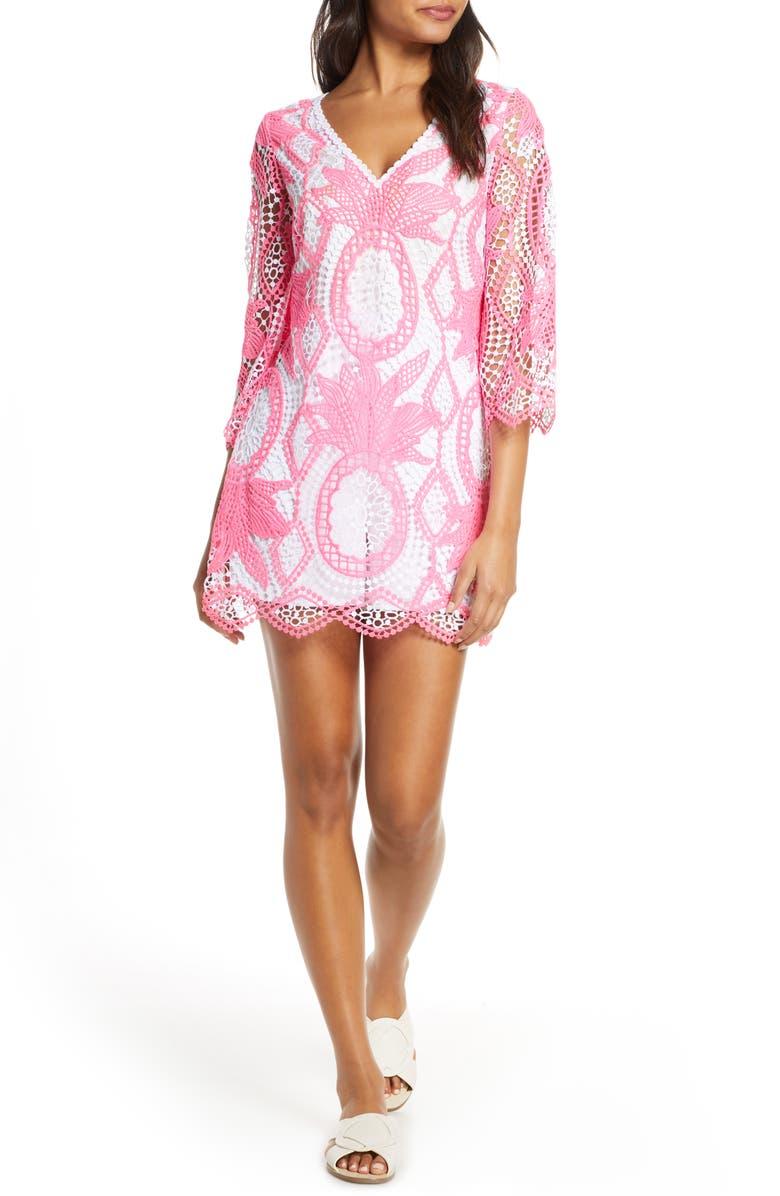 LILLY PULITZER<SUP>®</SUP> Lottie Crochet Lace Romper, Main, color, PINK TROPICS