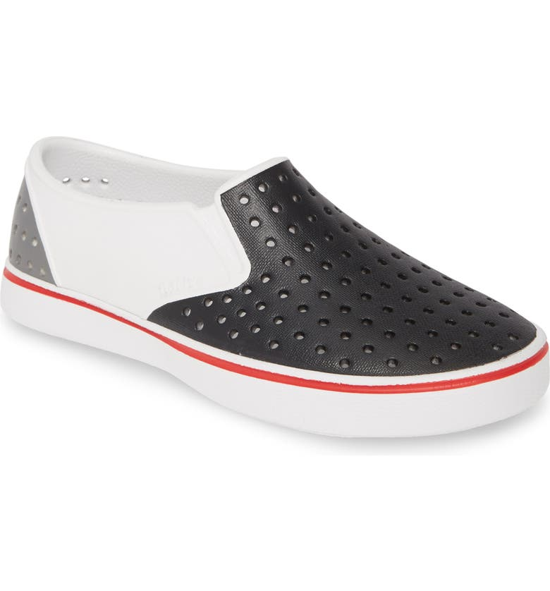 NATIVE SHOES Miles Colorblock Slip-On Vegan Sneaker, Main, color, SHELL WHITE / GREY / BLACK