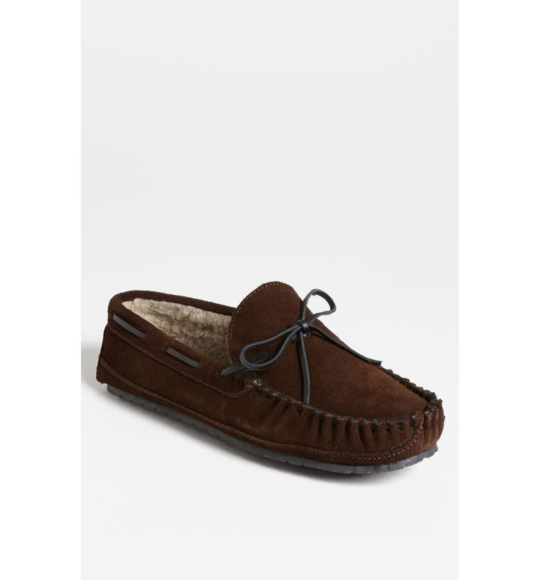 MINNETONKA 'Casey' Slipper, Main, color, CHOCOLATE SUEDE