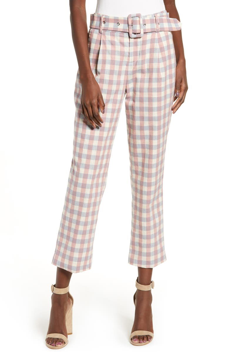 ENGLISH FACTORY Gingham Check Belted Trousers, Main, color, 250