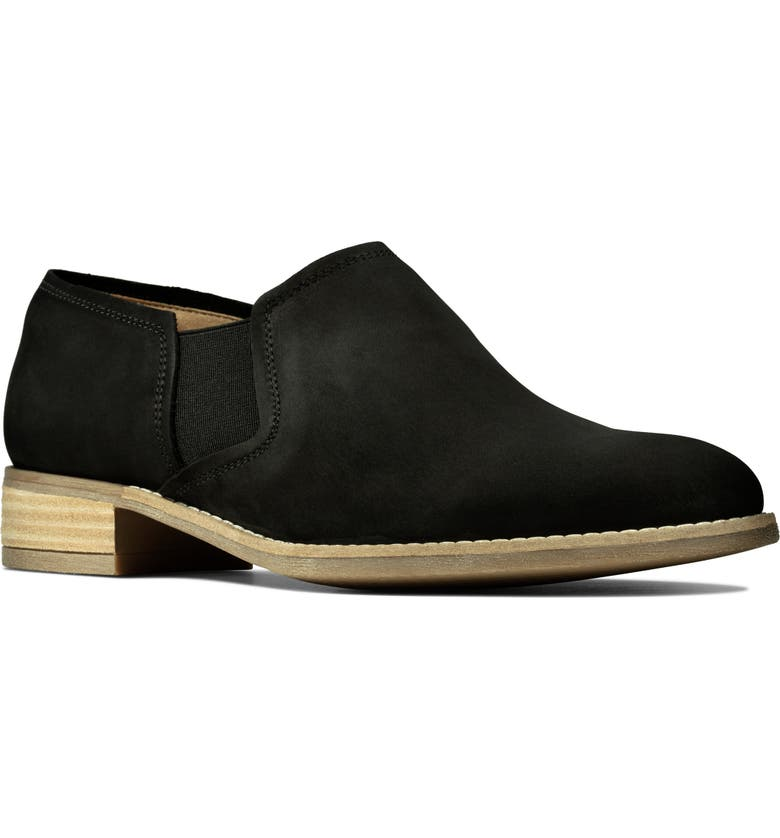 CLARKS<SUP>®</SUP> Netley Bright Slip-On, Main, color, BLACK NUBUCK