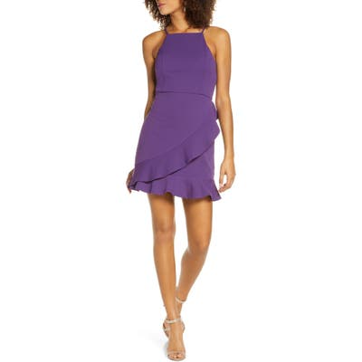 Lulus Great Thing Halter Neck Ruffle Minidress, Purple