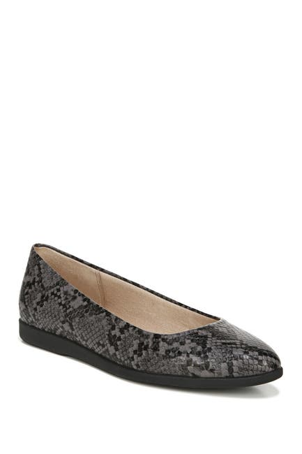 Image of LifeStride Amelia Snake Embossed Pointed Toe Flat - Wide Width Available