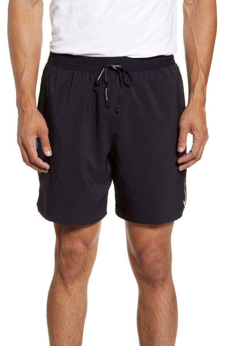 NIKE Dri-FIT Flex Strike 2-in-1 Shorts, Main, color, BLACK/ BLACK/ SILVER