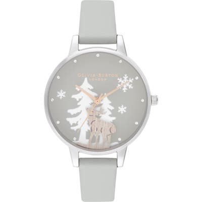 Olivia Burton Winter Wonderland Faux Leather Strap Watch, 30Mm