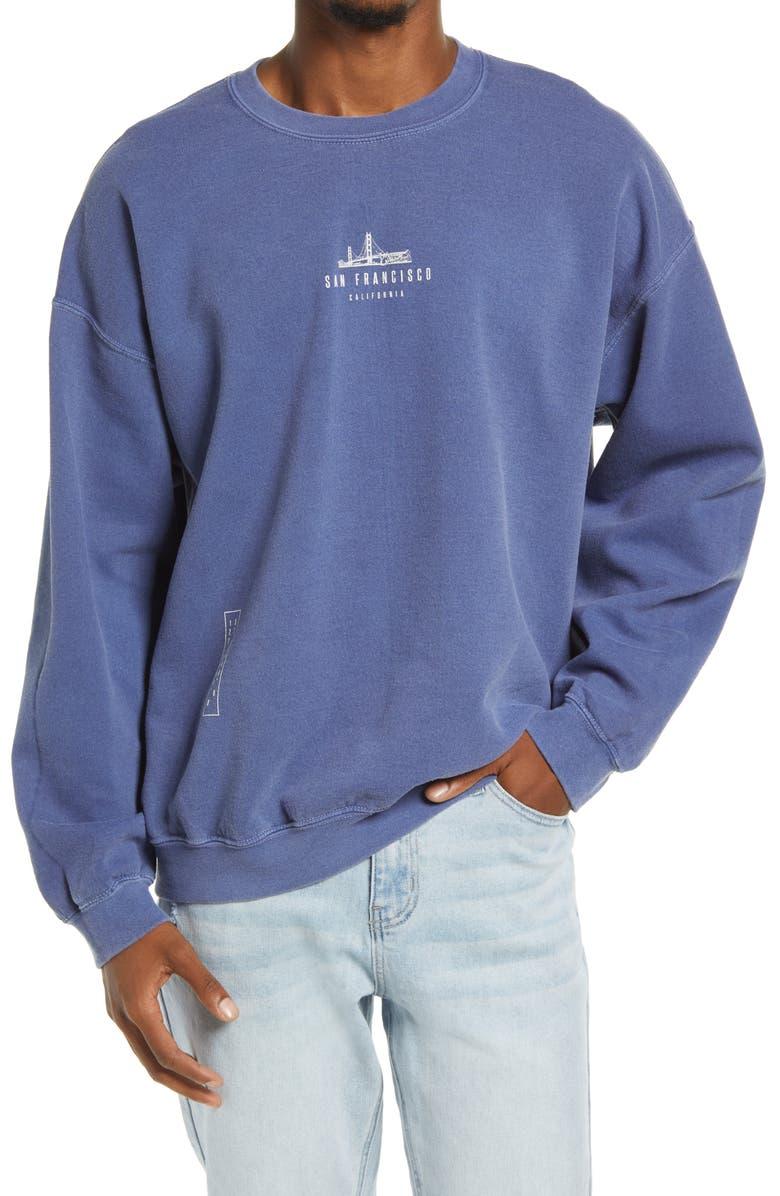 TOPMAN San Francisco Oversize Crewneck Sweatshirt, Main, color, BLUE