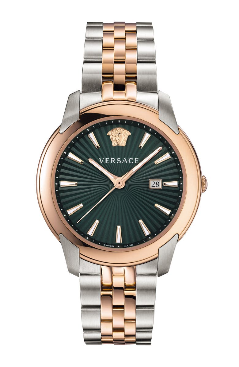 VERSACE Urban Bracelet Watch, 42mm, Main, color, SILVER/ GREEN SUNRAY/ROSE GOLD