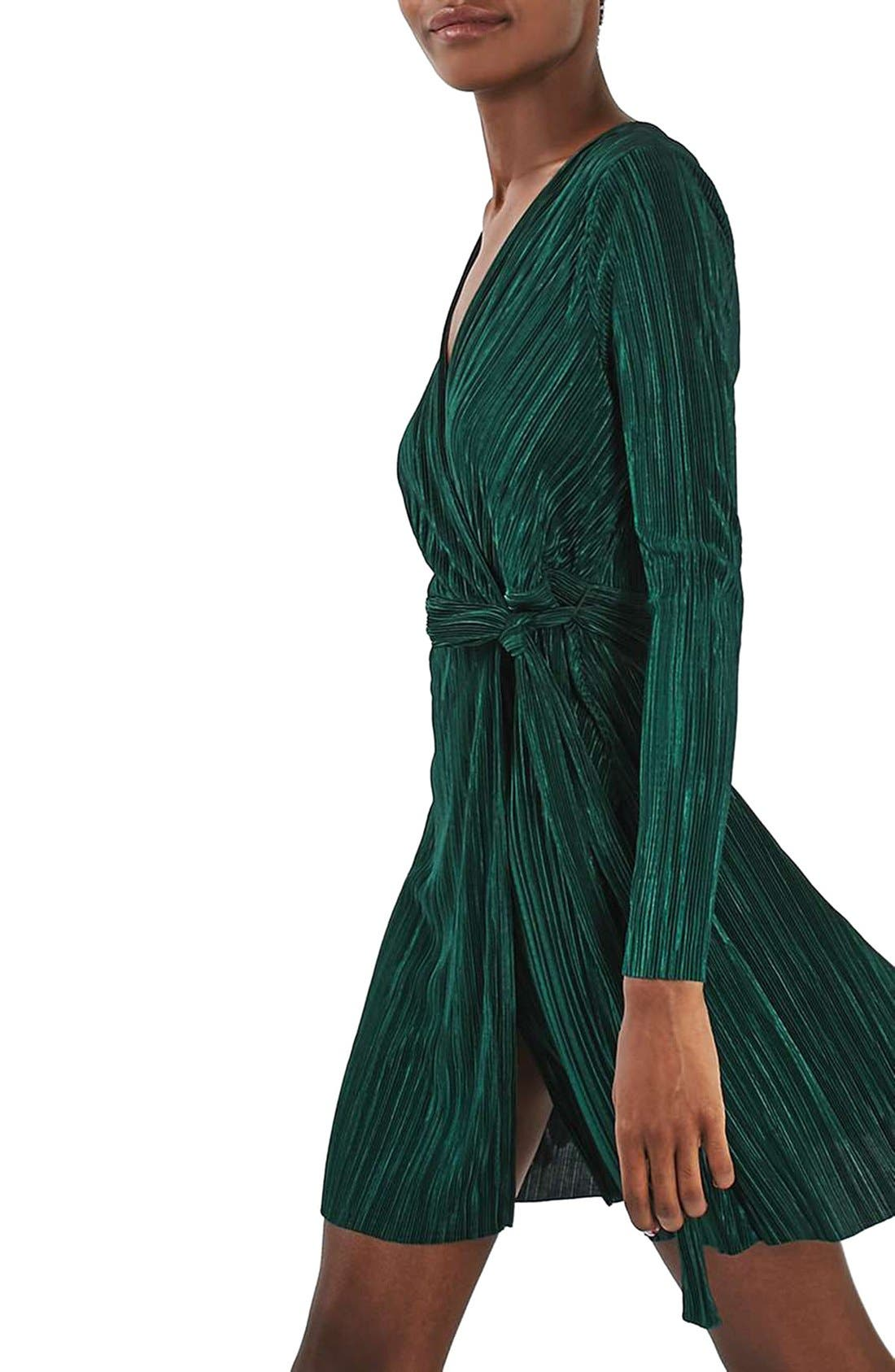 ,                             Plissé Wrap Minidress,                             Alternate thumbnail 7, color,                             301