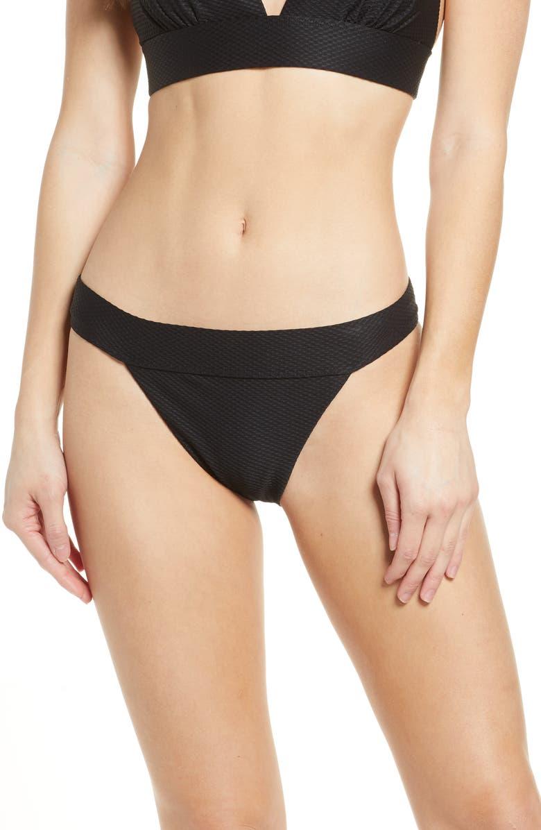 CHELSEA28 Banded Textured Bikini Bottoms, Main, color, BLACK