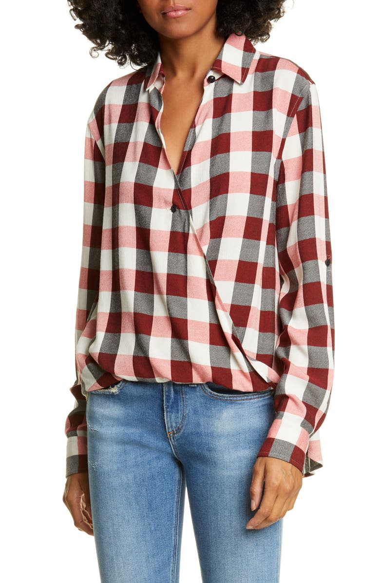 RAG & BONE Camile Plaid Shirt, Main, color, REDIVRY