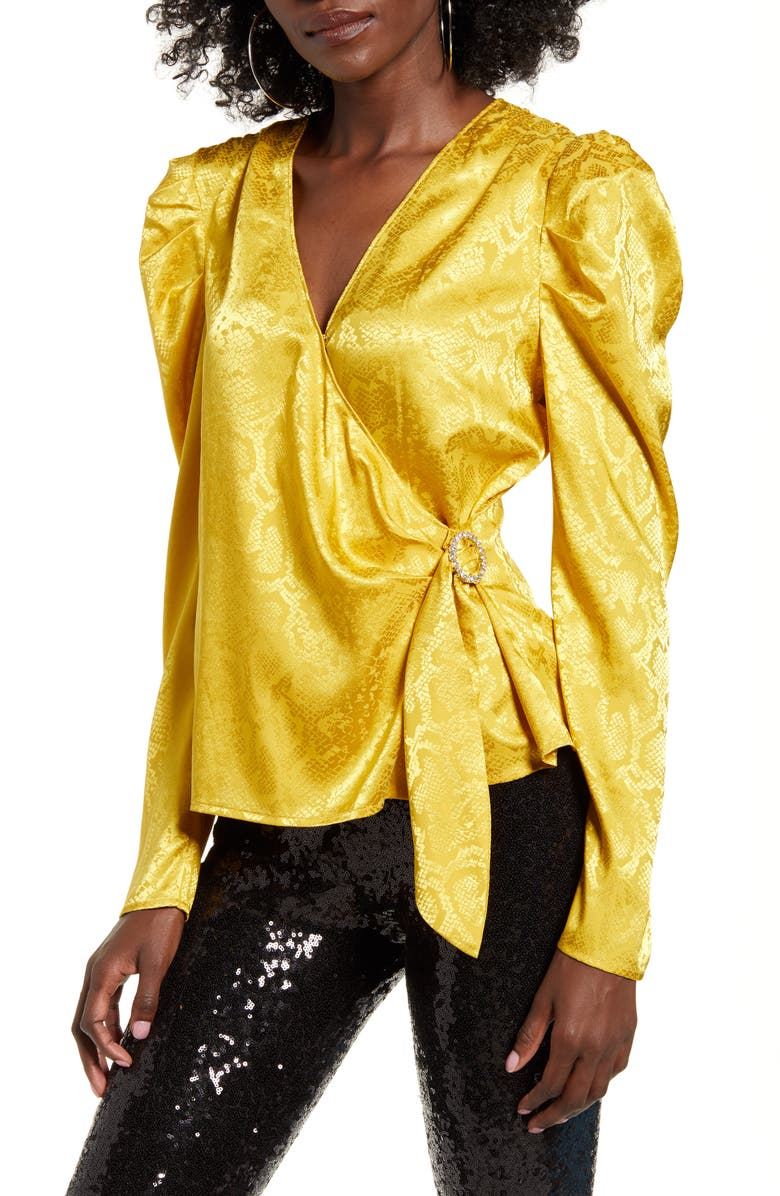 WAYF Gigi Puff Sleeve Wrap Top, Main, color, YELLOW SNAKE JACQUARD