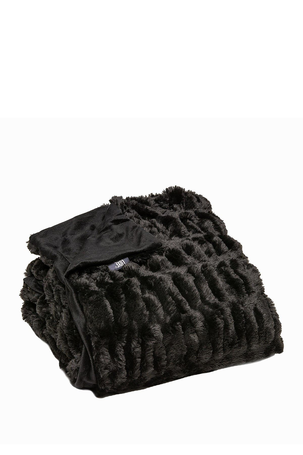 """Image of LUXE Faux Fur Throw - 50"""" x 60"""" - Cony Black"""