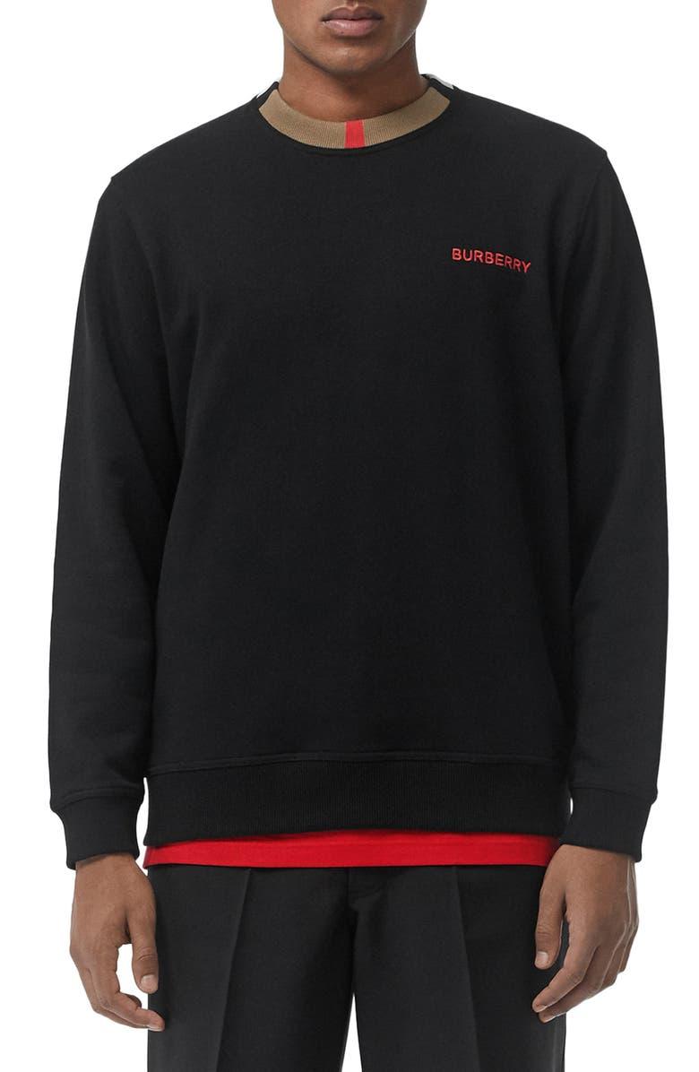 BURBERRY Jarrad Icon Stripe Collar Sweatshirt, Main, color, BLACK