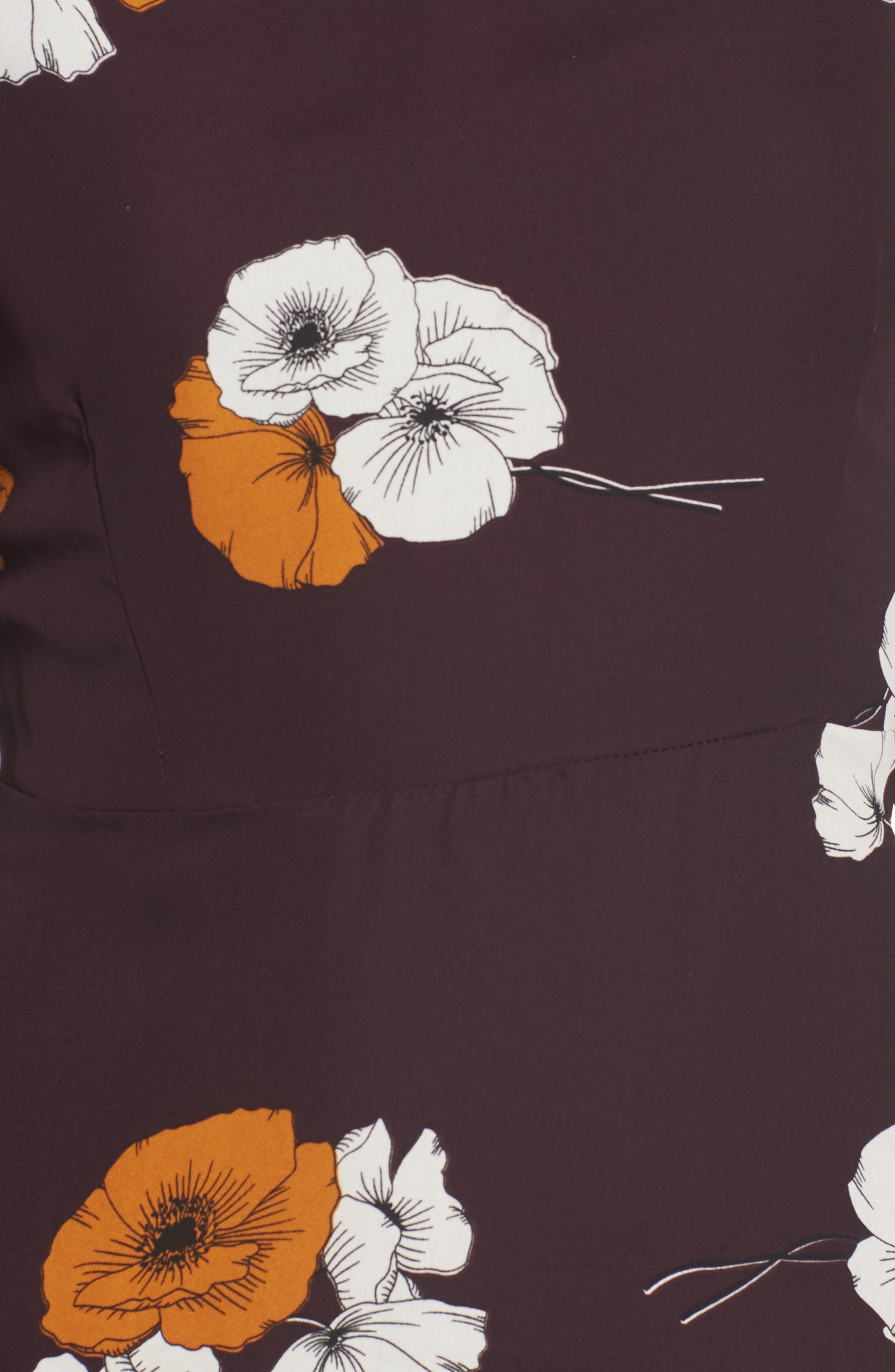 ,                             Leena Vintage Floral Dress,                             Alternate thumbnail 6, color,                             AUBERGINE