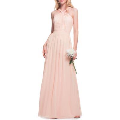 #levkoff Halter Neck Chiffon Gown, Pink
