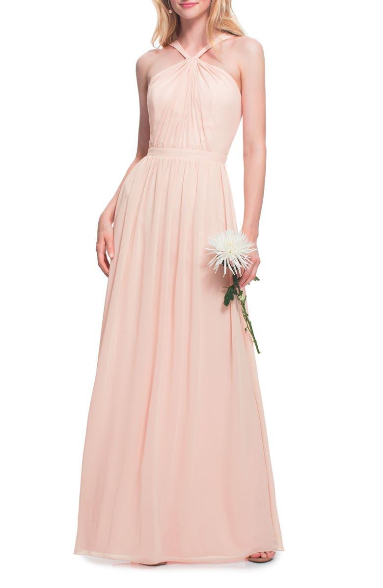 #LEVKOFF Halter Neck Chiffon Gown, Main, color, PETAL PINK