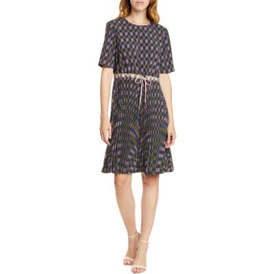 Ted Baker London Lloyd Ii Geo Print Pleated Dress, Blue