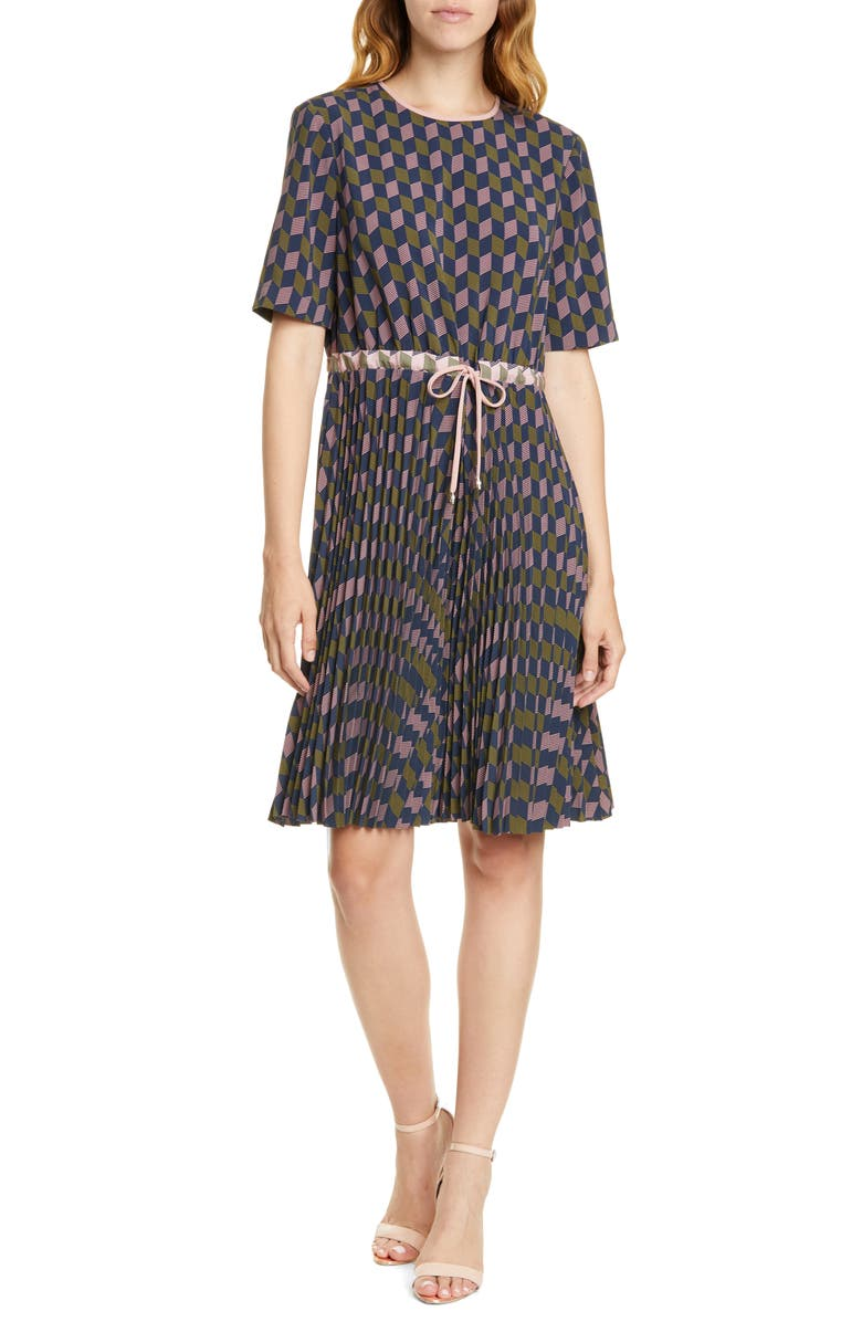 TED BAKER LONDON Lloyd II Geo Print Pleated Dress, Main, color, NAVY