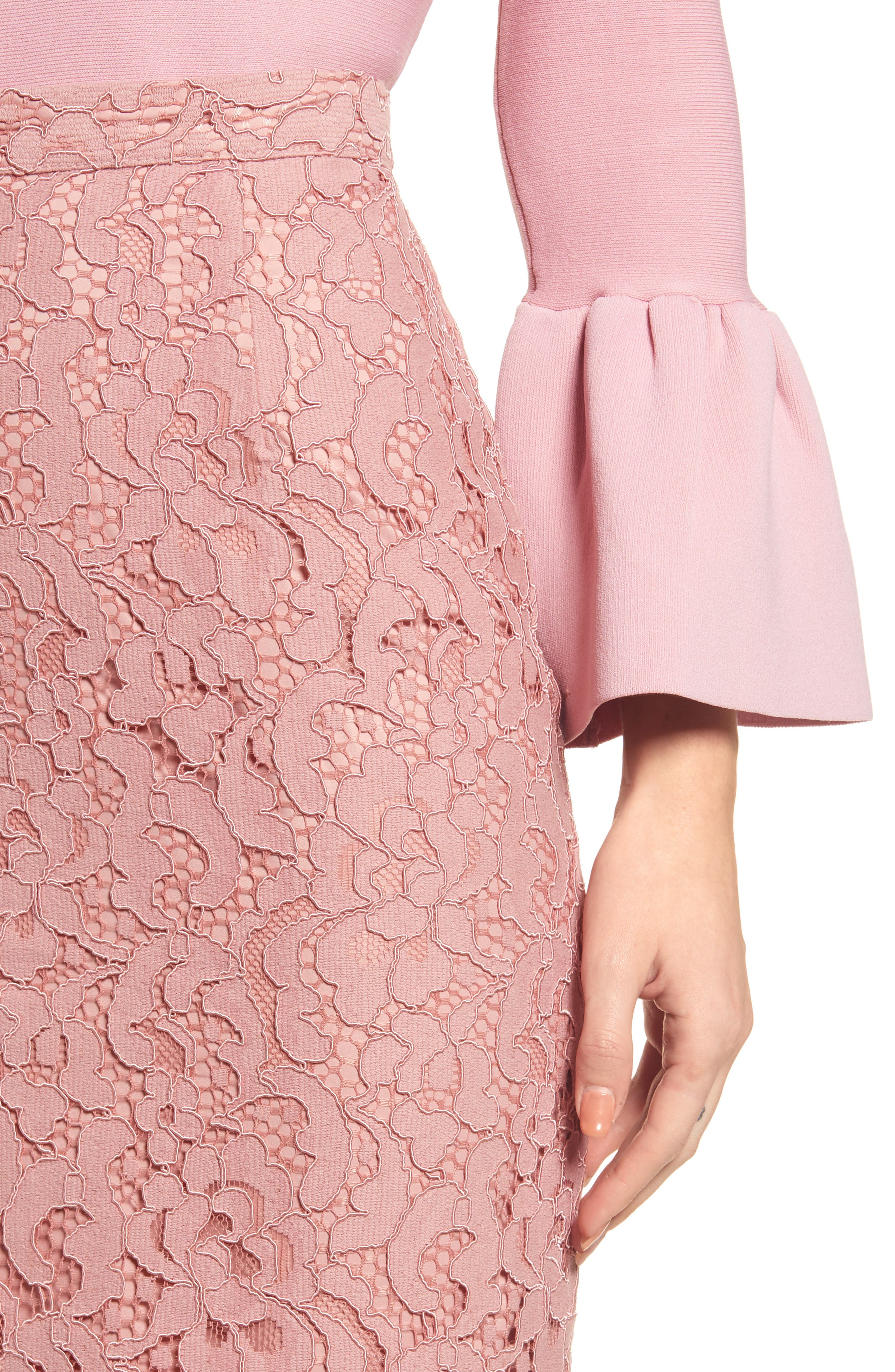 ,                             Lace Pencil Skirt,                             Alternate thumbnail 5, color,                             PINK BEAUTY