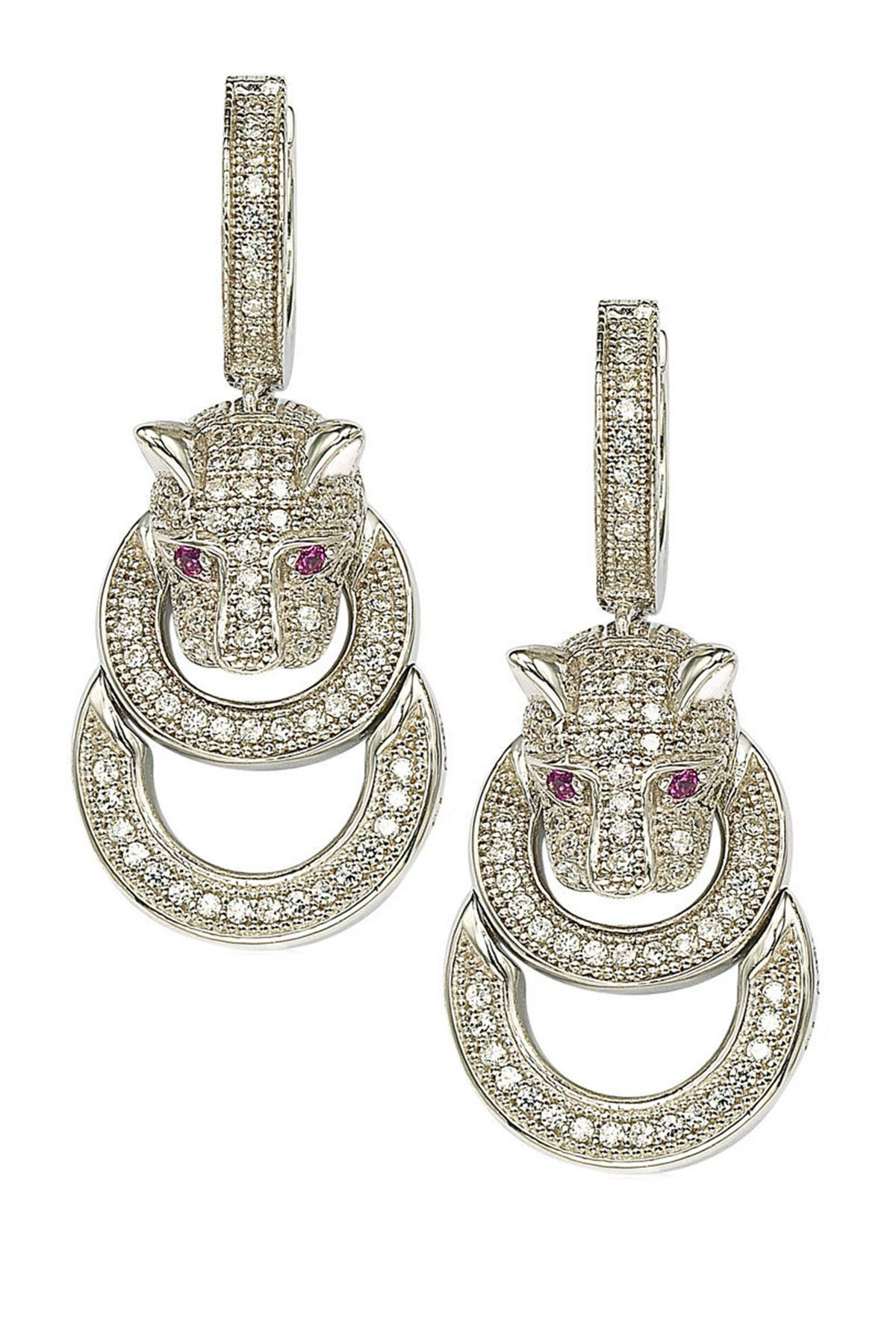 Image of Suzy Levian Sterling Silver CZ Jaguar Earrings