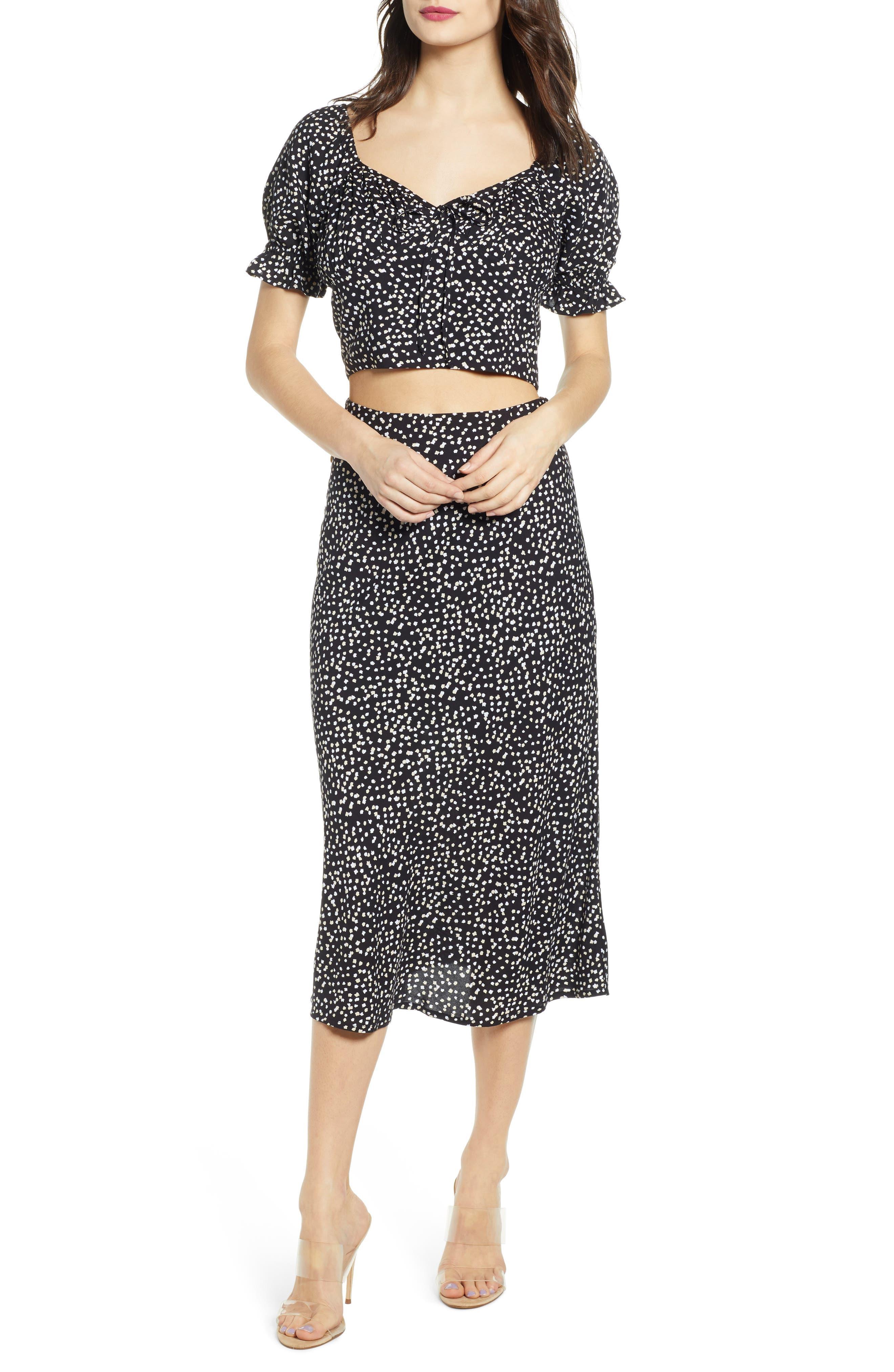 ,                             Button Side Midi Skirt,                             Alternate thumbnail 7, color,                             BLACK CINDY PRINT