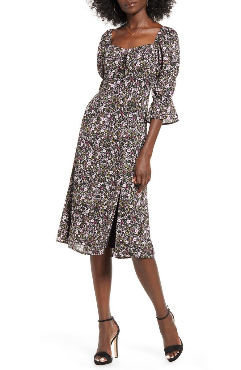 ROW A Square Neck Floral Dress, Main, color, BLACK MULTI