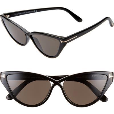 Tom Ford Charlie 55Mm Cat Eye Sunglasses - Shiny Black/ Smoke