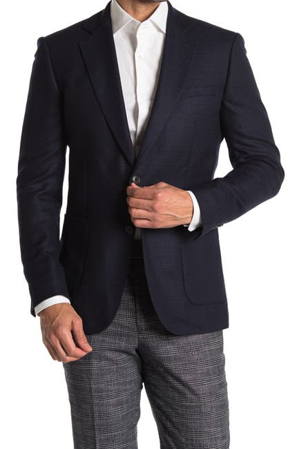 Image of REISS Navy Textured Two Button Notch Lapel Wool Suit Separates Blazer