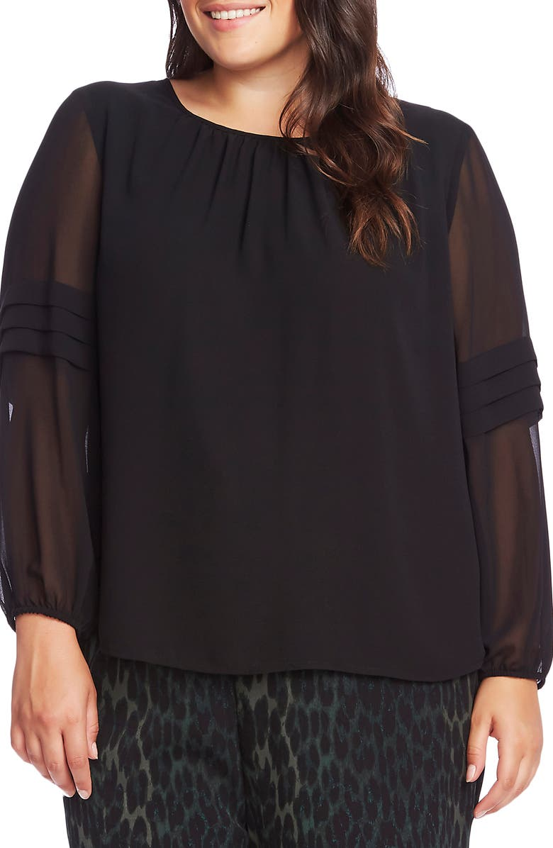 VINCE CAMUTO Pleated Long Sleeve Chiffon Blouse, Main, color, RICH BLACK