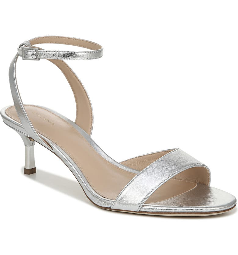 VIA SPIGA Louise Metallic Ankle Strap Sandal, Main, color, SILVER LEATHER