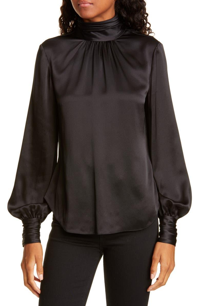 CINQ À SEPT Jayla Silk Top, Main, color, BLACK