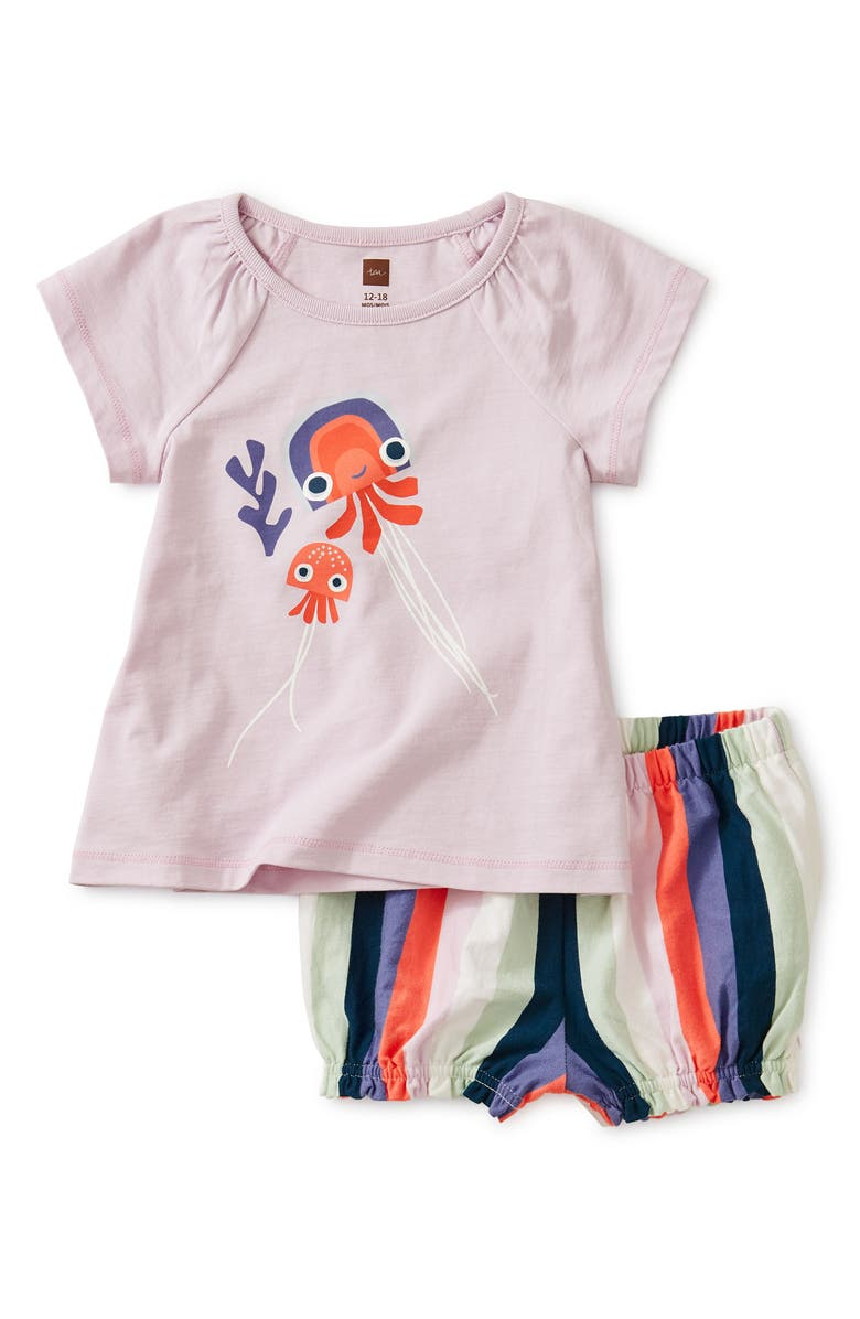 TEA COLLECTION Jellyfish Top & Shorts Set, Main, color, WATER LOTU
