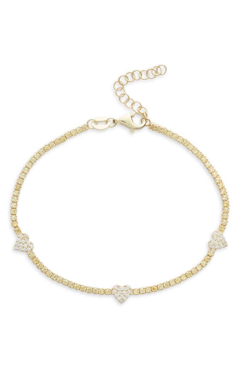 ADINA'S JEWELS Adina's Jewels Pastel Heart Tennis Bracelet, Main, color, TOPAZ YELLOW
