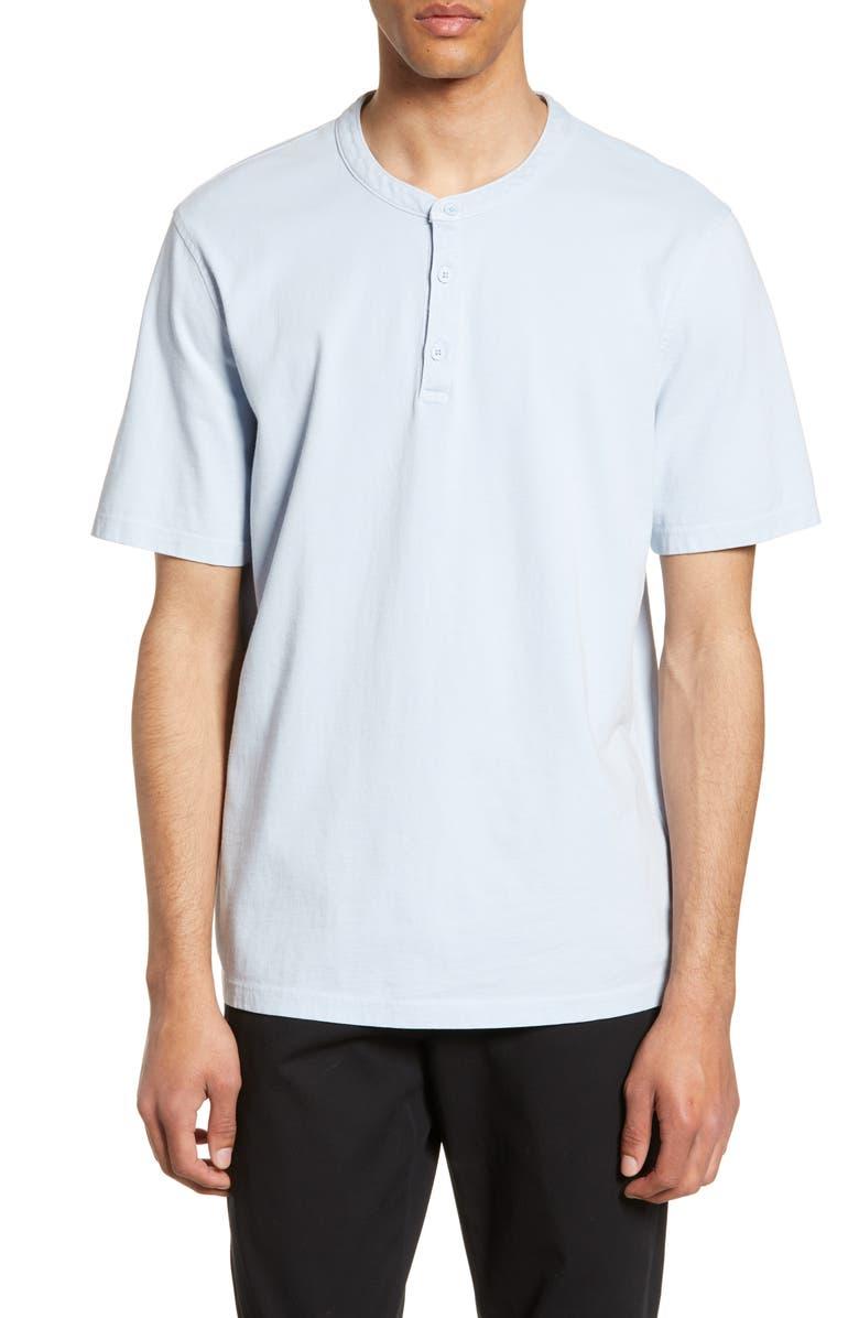 VINCE Regular Fit Short Sleeve Henley, Main, color, WASHED CARRIBEAN