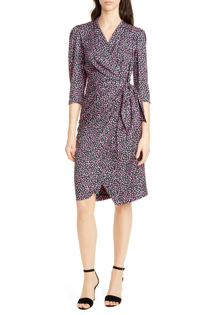 REBECCA TAYLOR Wild Rose Print Wrap Dress, Main, color, BLACK