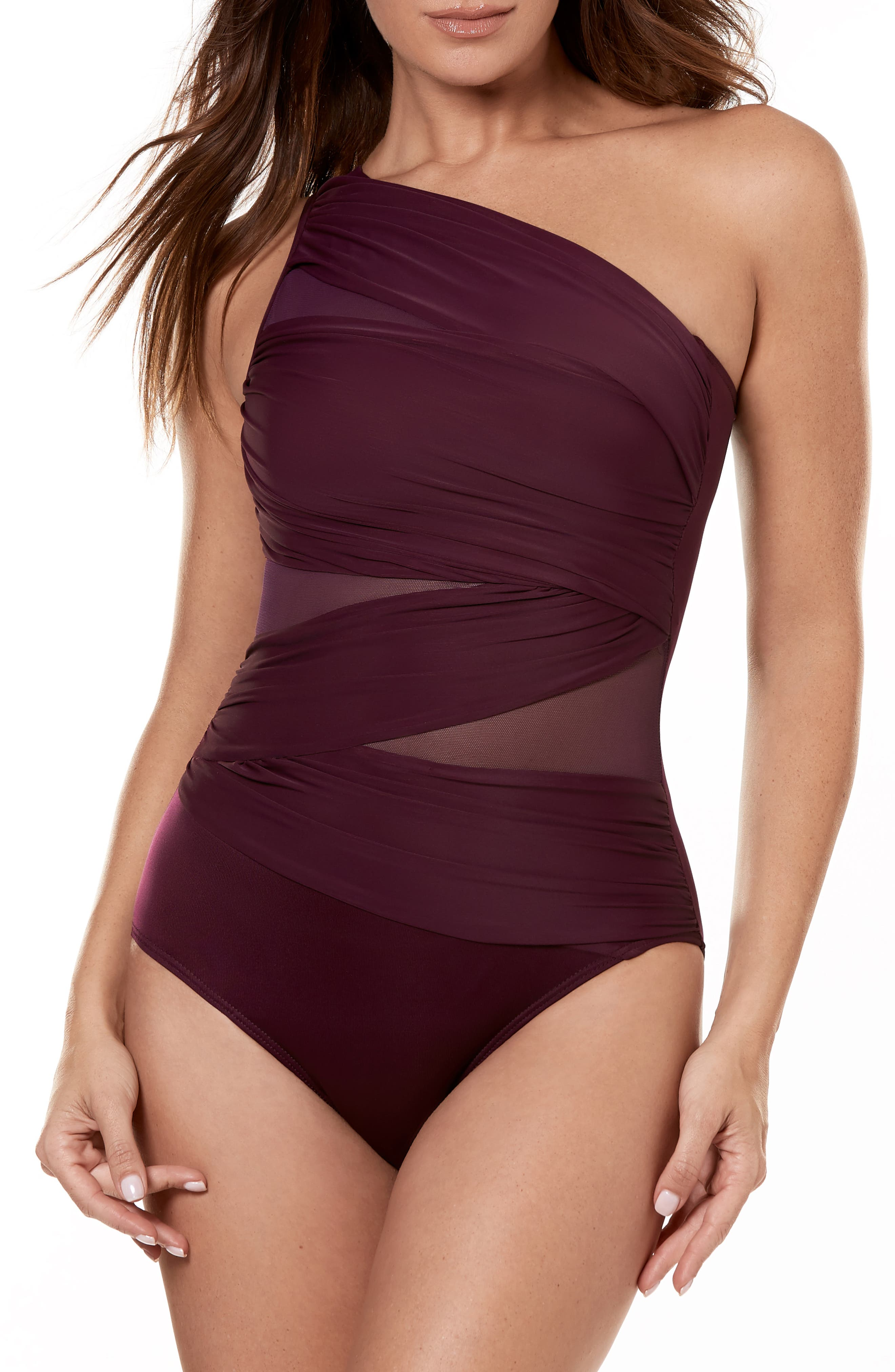Miraclesuit Jena One-Shoulder One-Piece Swimsuit, Burgundy