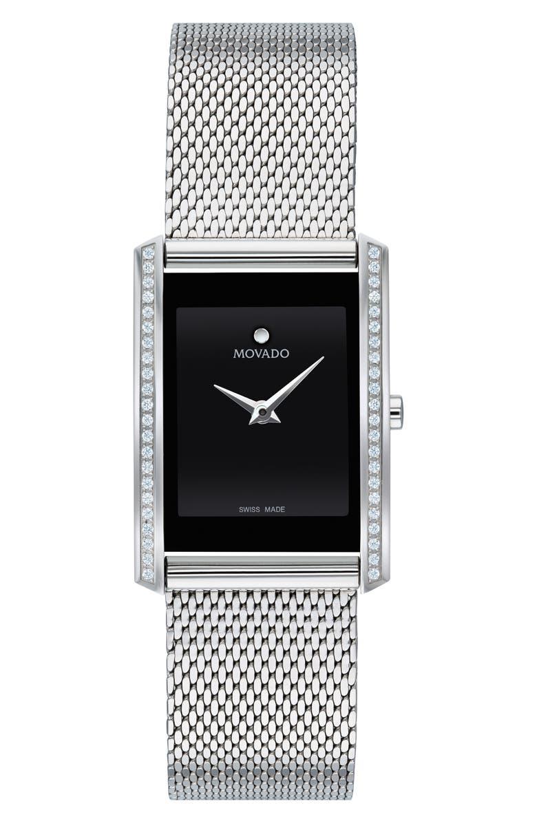 MOVADO La Nouvelle Diamond Bezel Bracelet Watch, 30mm, Main, color, SILVER/ BLACK/ SILVER