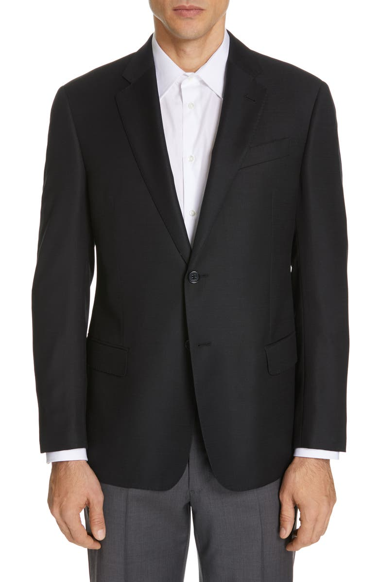 EMPORIO ARMANI Trim Fit Wool Blazer, Main, color, SOLID BLACK