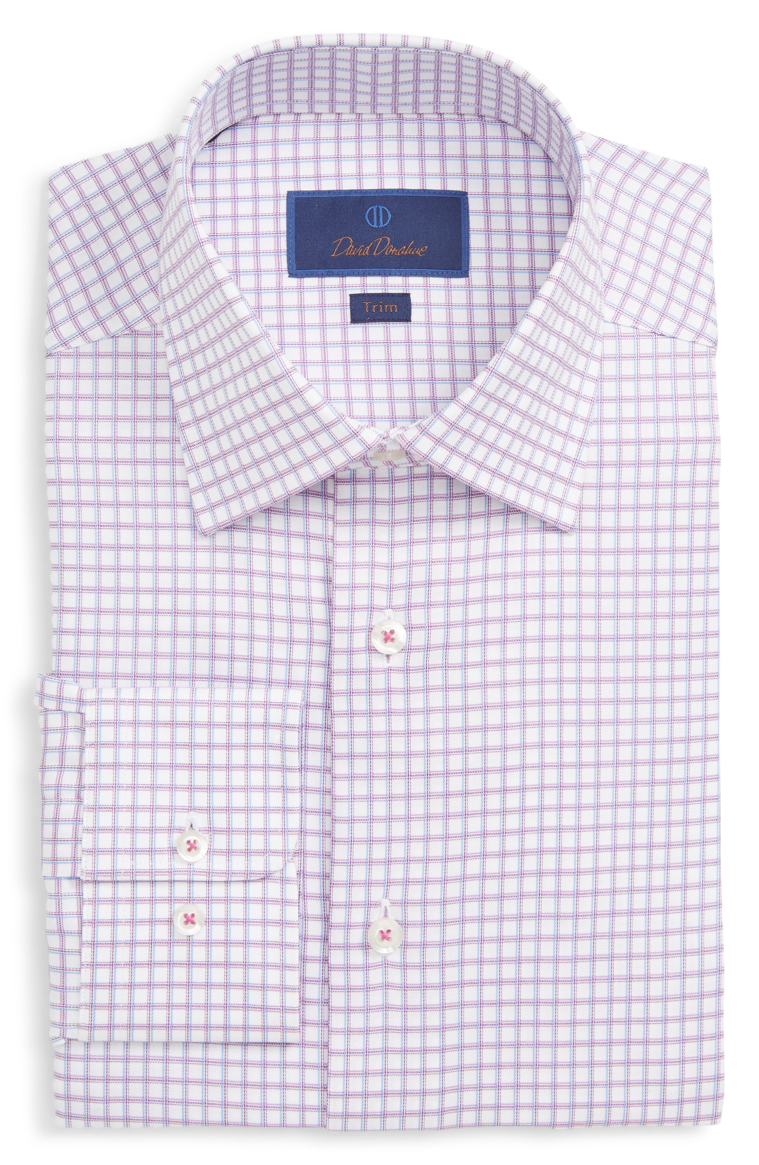 Trim Fit Check Dress Shirt, Main, color, BERRY