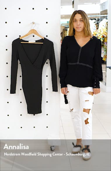 Long Sleeve Surplice Ribbed Mini Sweater Dress, sales video thumbnail
