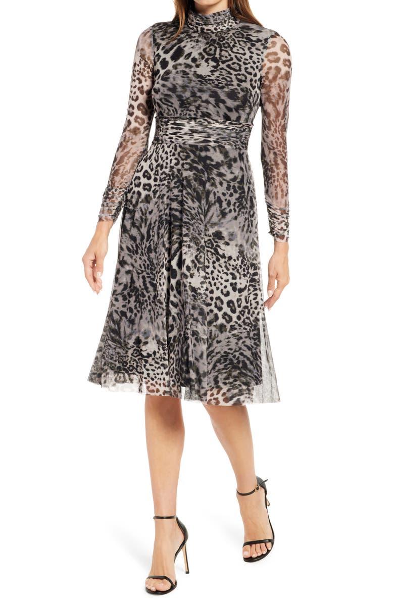 ELIZA J Animal Print Long Sleeve Mesh Midi Dress, Main, color, BLACK GREY
