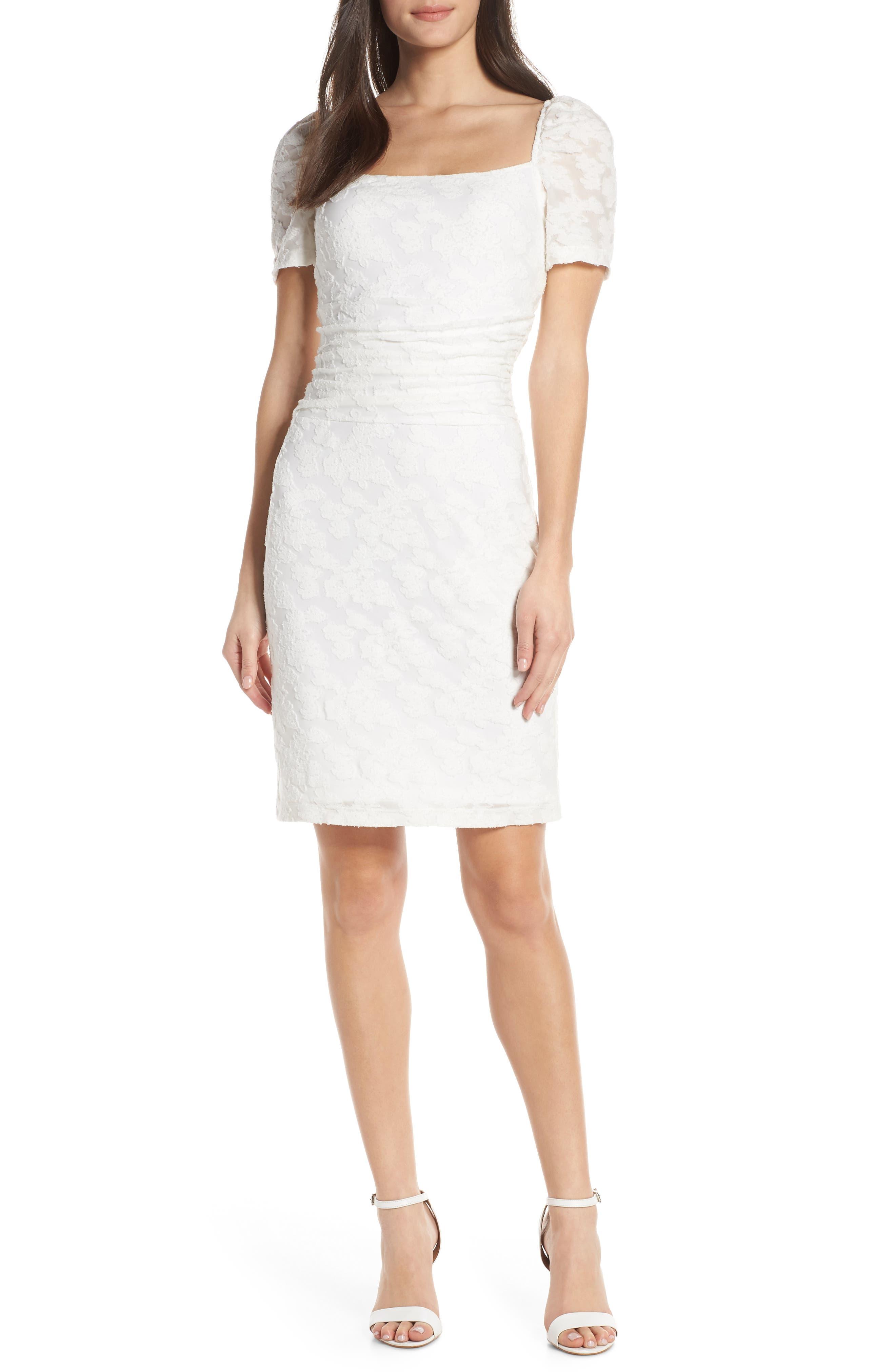,                             Big Mistake Short Sleeve Sheath Dress,                             Main thumbnail 1, color,                             WHITE FLORAL