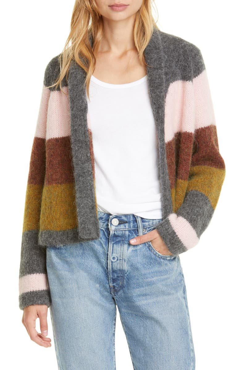 THE GREAT. The Stripe Lodge Cardigan, Main, color, 020