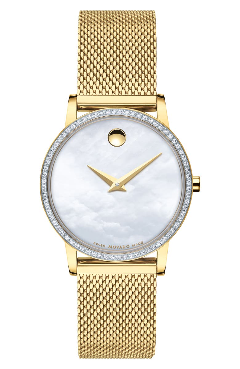 MOVADO Museum Classic Diamond Bracelet Watch, 28mm, Main, color, GOLD/ WHITE MOP/ GOLD