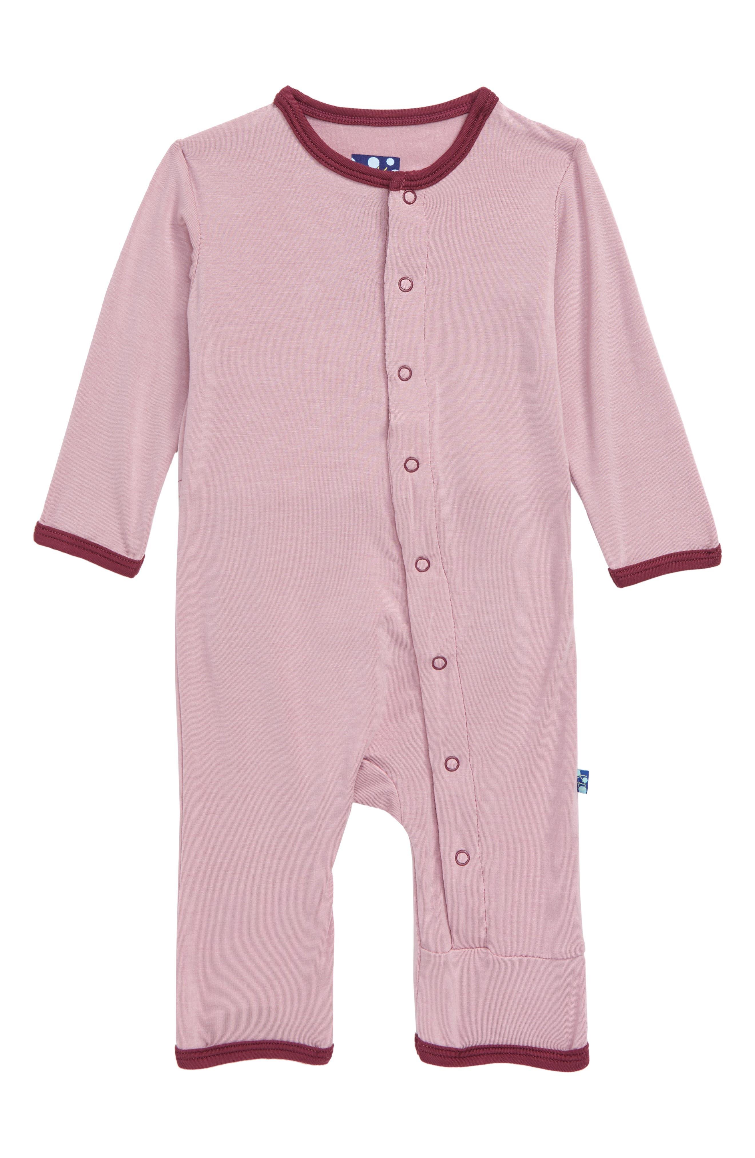 Infant Girls Kickee Pants Dino Applique Romper Size 69M  Pink