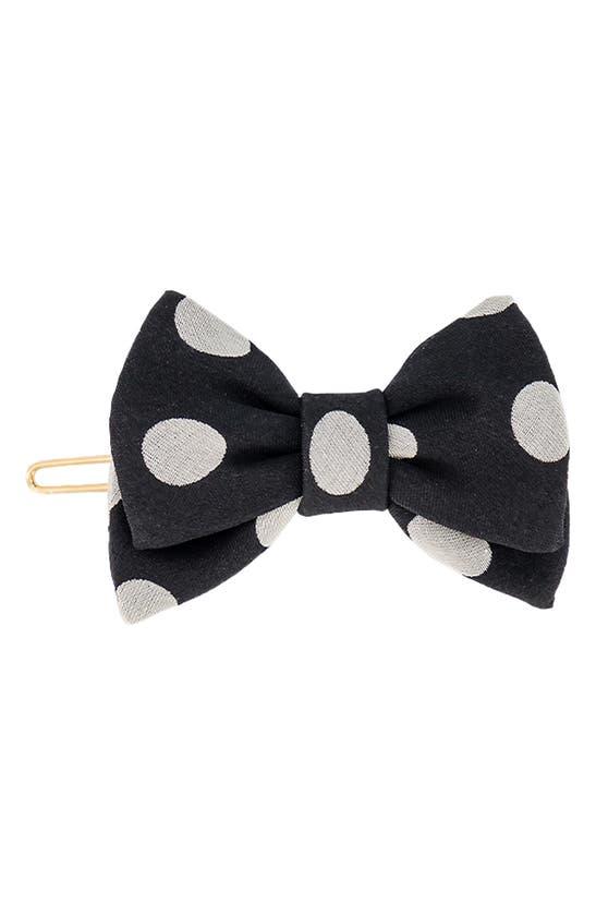 Alexandre De Paris Polka Dot Bow Hair Clip In Black And White