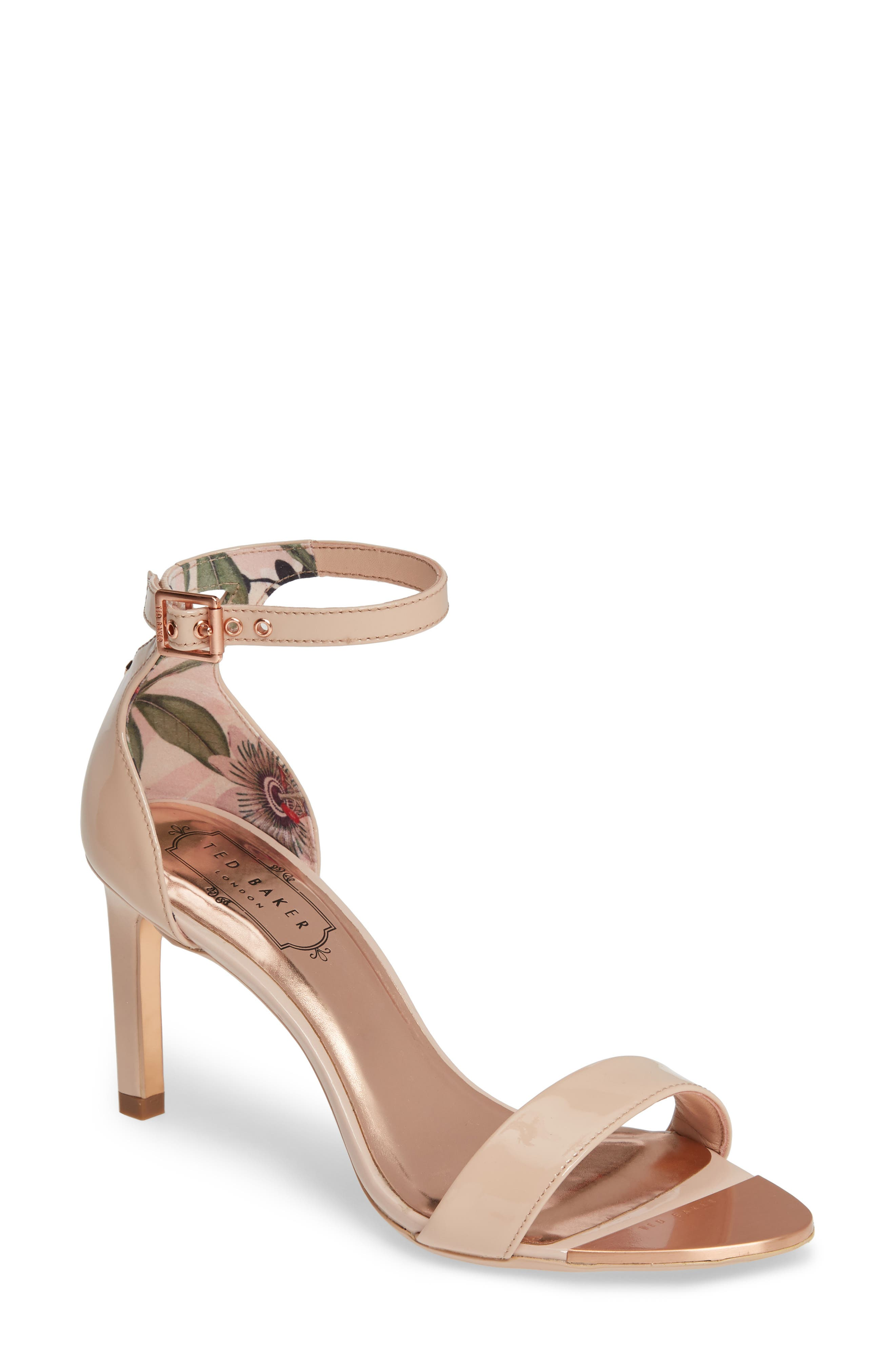 ,                             Ankle Strap Sandal,                             Main thumbnail 1, color,                             NUDE PATENT LEATHER