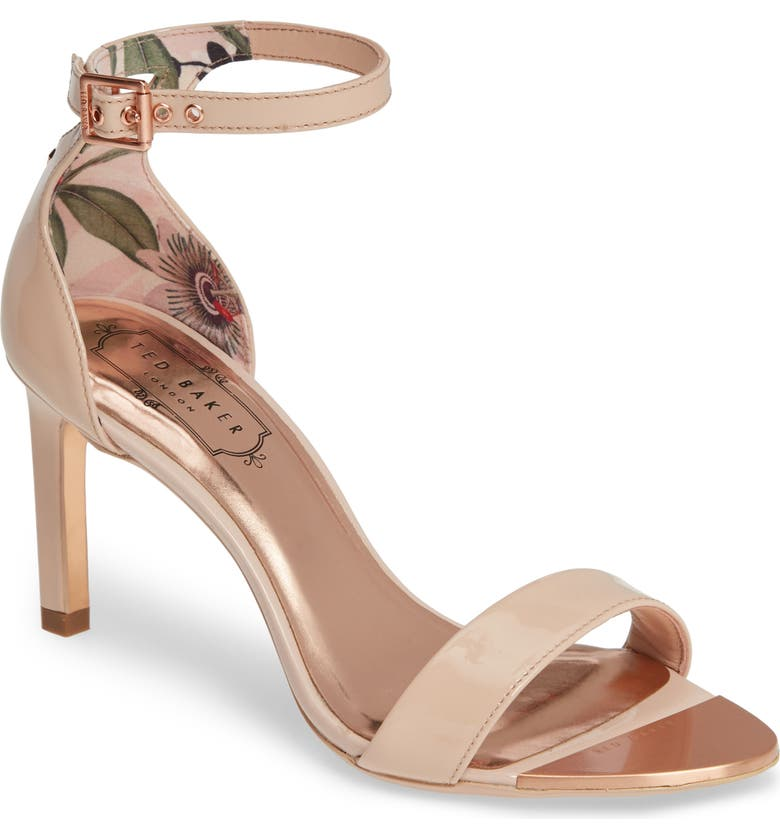 TED BAKER LONDON Ankle Strap Sandal, Main, color, NUDE PATENT LEATHER